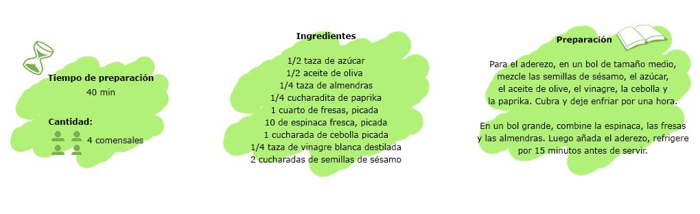 receta ensalada de espinacas y fresas