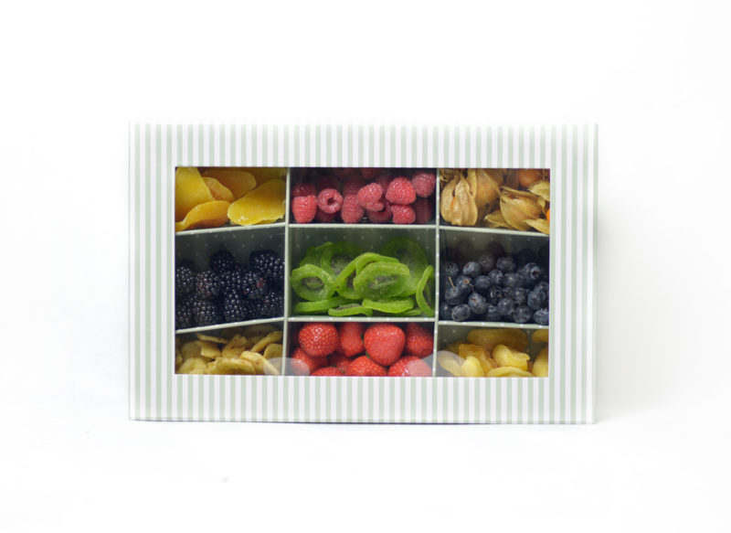 Caja de fruta deshidratada